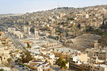Roman theater and city view of Amman, Jordan