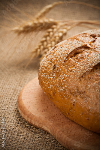 baked bread on burlap