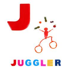Illustrated alphabet.  Illustration of the letter J