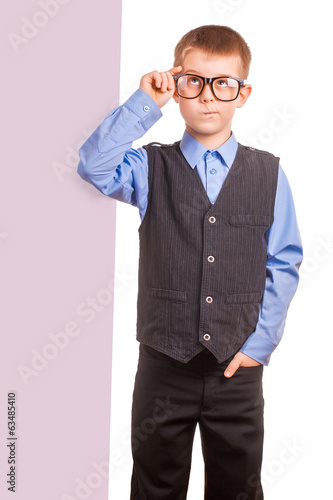 Boy with banner isolated on white background