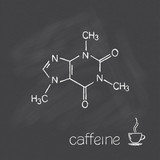 Caffeine molecule and cup of coffee chalked on blackboard poster