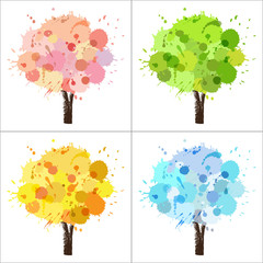 Four seasons tree of paint splashes