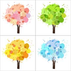 Four seasons tree of paint splashes