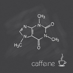 Caffeine molecule and cup of coffee chalked on blackboard