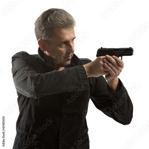 Man holding gun isolated