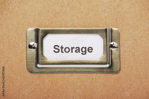 Storage label on a cardboard box or filing drawer