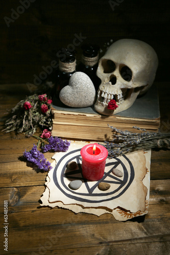 Conceptual photo of love magic. Composition with skull, dried