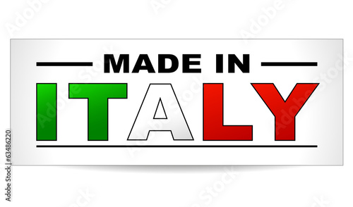 Vector illustration of made in italy paper label