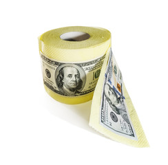 one hundred dollar bills on a roll of toilet paper