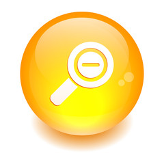 Button loupe magnifying glass icon orange