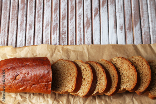 Bread  slices on wooden board, close-up
