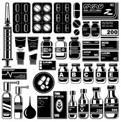 Set of medicament symbols.