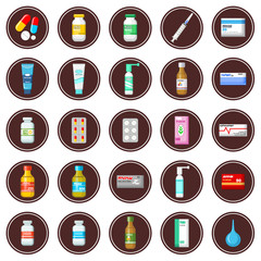 Medicament. Set of icons