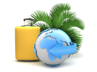 Earth globe, suitcase and palm tree on white background