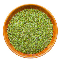 green mung bean in wooden bowl