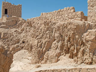 Ruins of Herods castle in fortress Masada, Israel