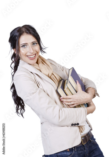 girl student holds a stack of books