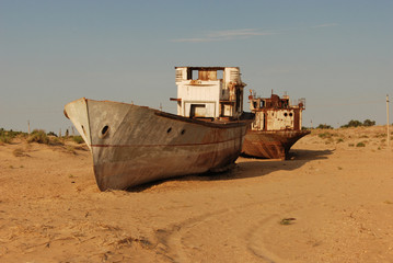 Rusty ship of Aral Sea fishing fleet