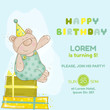 Baby Bear Birthday Card - invitation, congratulation
