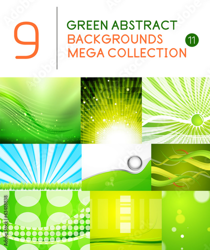 Mega set of green abstract backgrounds