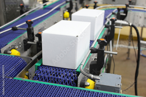 canvas print picture Cardboard boxes on conveyor belt in plant