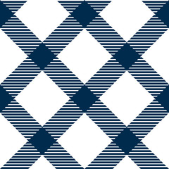 Checkered gingham fabric seamless pattern in blue and white
