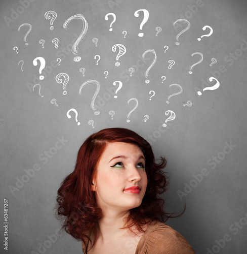Young woman with question marks above her head