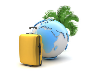 Palm tree, suitcase and earth globe on white background