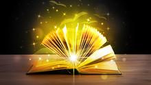 Ouvrir le livre avec des pages de papier volant de Golden Glow
