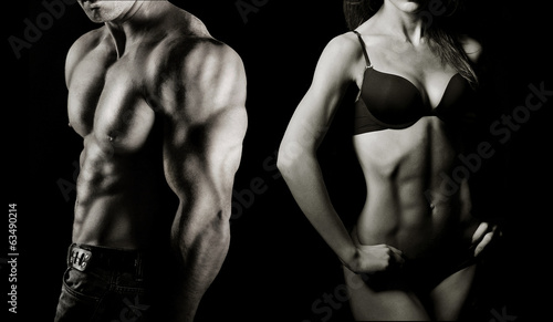 canvas print picture Bodybuilding. Man and woman