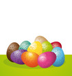 Easter eggs on white background.