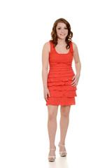 teen girl wearing orange dress