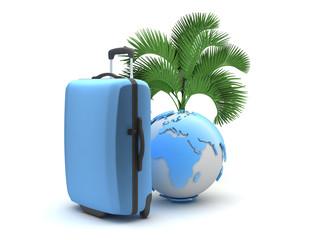 Travel luggage, palm tree and earth globe