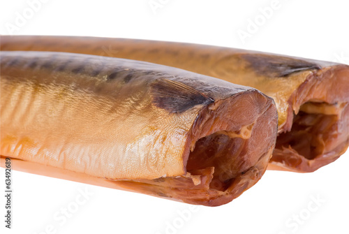 Two salted Mackerel fish without head isolated on white