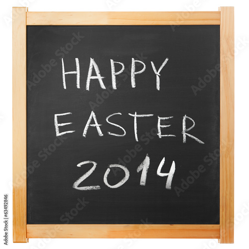 Happy Easter 2014 chalk handwritten on classic blackboard