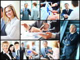 Collage of smart business people at work