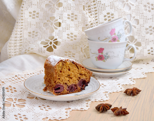 Fruitcake with cherries and anise