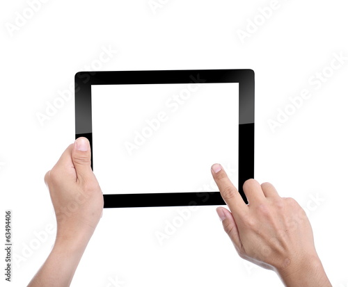 Women holding Tablet PC for do something