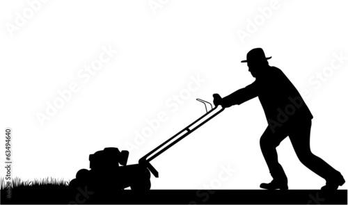 Man Mowing Lawn - 63494640