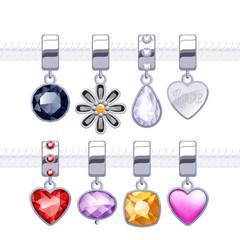 Assorted metal charm pendants for necklace or bracelet.