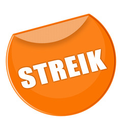 Plakette Streik in orange - g772