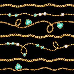 Golden chains & gemstones seamless pattern on black.
