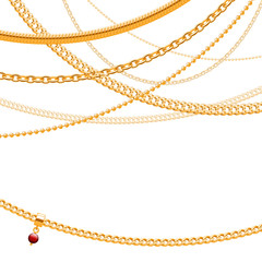 Golden chains on white background with glass bead pendant.