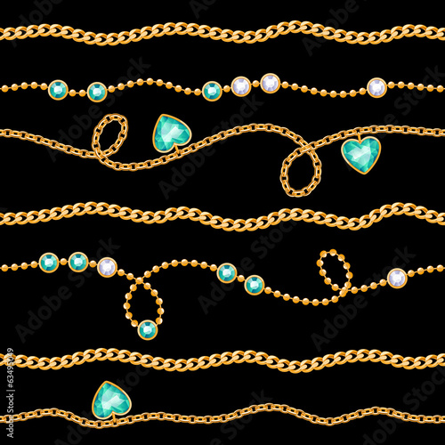 Golden chains & gemstones seamless pattern on black.