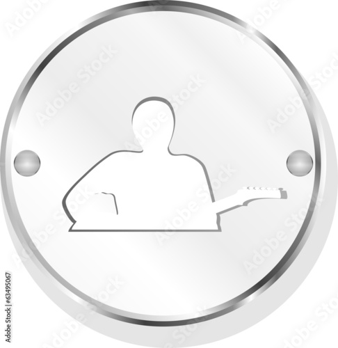 guitarist blue button isolated on white