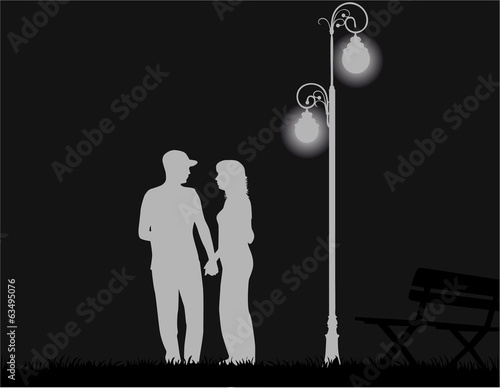 young couple on night