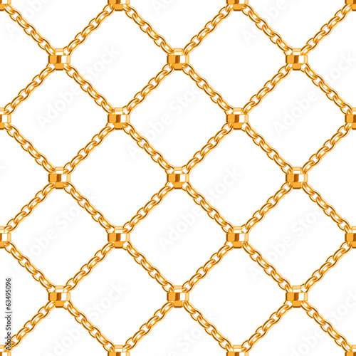 Seamless pattern with crossed golden chains.