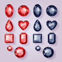 Uppsättning av realistiska juveler. Färgstarka ädelstenar - rött och svart.