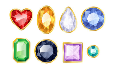 Set of realistic jewels. Colorful gemstones in golden framing.