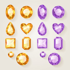 Set of realistic jewels. Colorful gemstones - orange and purple.